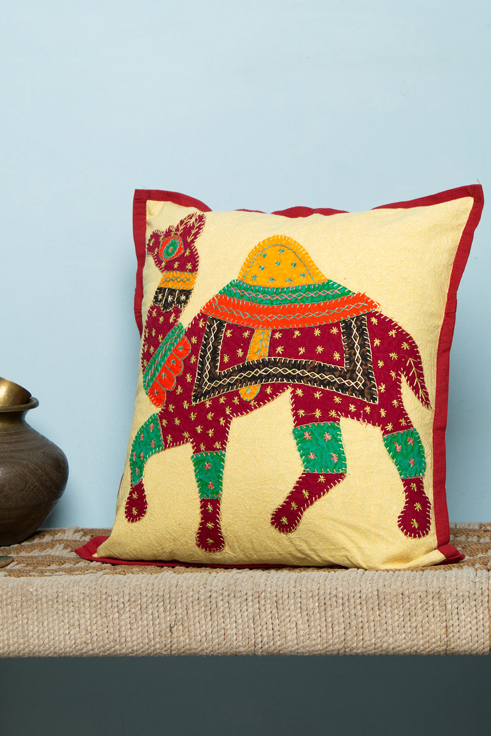 Camel Patch Work Cushion Cover, 16 x16 inches, Mehroon