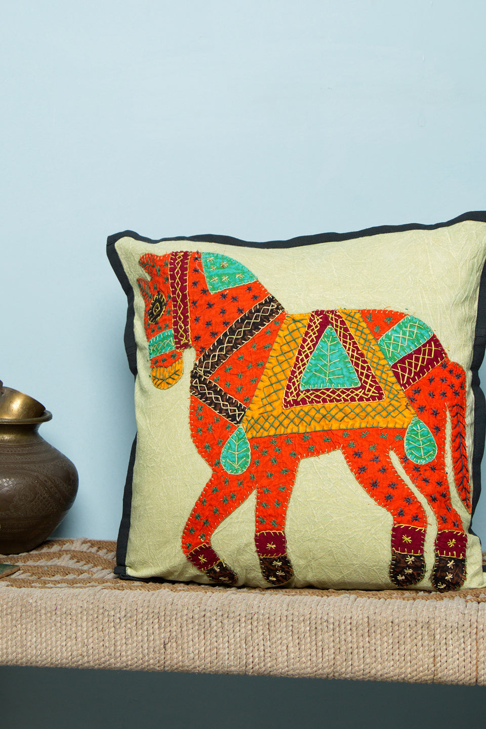Horse Patch Work, Jogi Cushion Cover, Orange