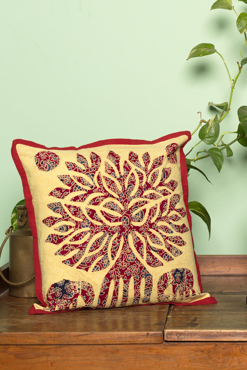 Tree of life Patch work, Jogi Cushion Cover,Mehroon