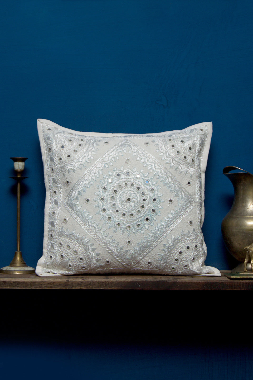 Heavy Embroidery with Mirror Work Cushion Cover,White