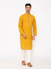 Load image into Gallery viewer, Hand Weaved Kurta, Chinese Collar - Mustard