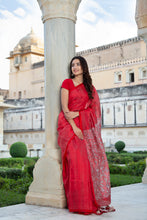 Load image into Gallery viewer, Kantha, Tussar Silk, Red Saree