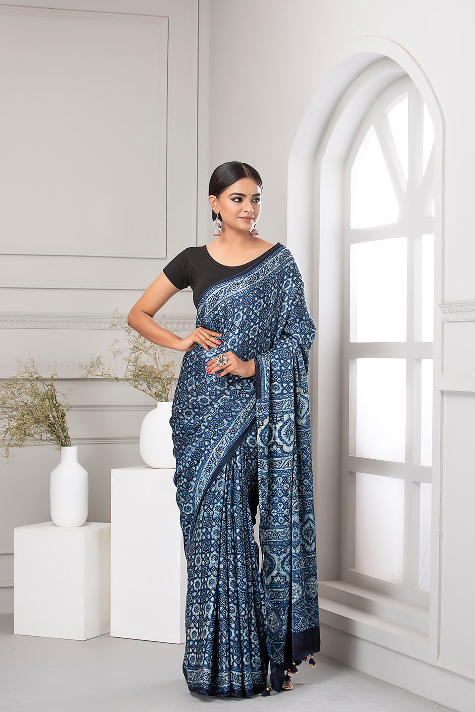 Ajrak Print Saree, Light Blue