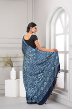 Load image into Gallery viewer, Ajrak Print Saree, Light Blue