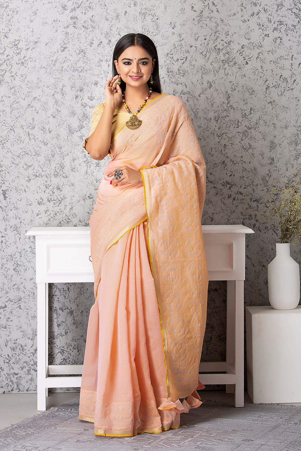 Ball Motif Applique Saree, Light Peach