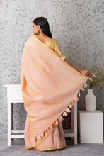 Load image into Gallery viewer, Ball Motif Applique Saree, Light Peach