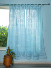 Load image into Gallery viewer, Applique, Handmade Curtains for Door/Window, Full Work Pattern, Baby Blue