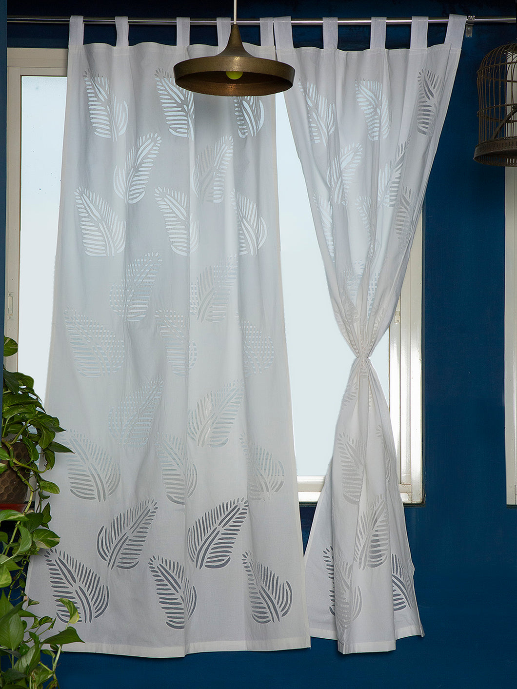 Applique, Handmade Curtains for Door/Window, Leaf Pattern, White
