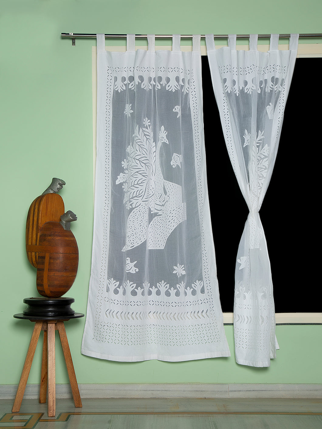 Applique, Handmade Curtains for Door/Window, Peacock Pattern, White