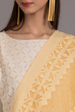 Load image into Gallery viewer, Floral-Diamond Applique Cotton Dupatta with Khuddi Design Border, Beige