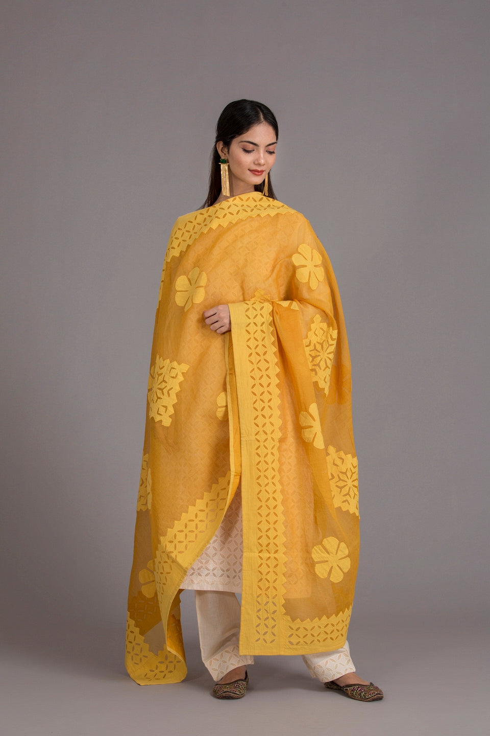 Floral Diamond Applique Cotton with Khuddi Design Border, Yellow