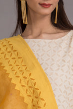 Load image into Gallery viewer, Floral Diamond Applique Cotton with Khuddi Design Border, Yellow