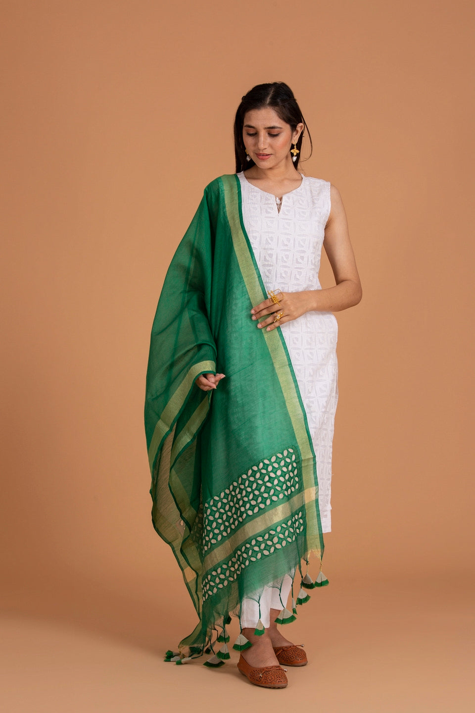 Khuddi Design Applique Chanderi Duppatta/Stole, Green