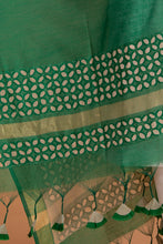 Load image into Gallery viewer, Khuddi Design Applique Chanderi Duppatta/Stole, Green
