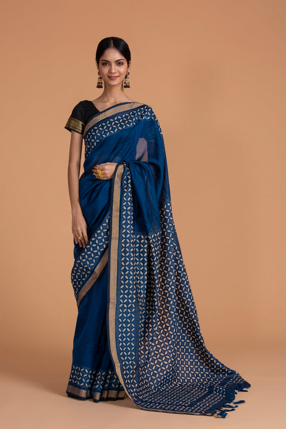 Khuddi Motif Chanderi Applique Saree, Navy Blue