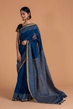 Load image into Gallery viewer, Khuddi Motif Chanderi Applique Saree, Navy Blue