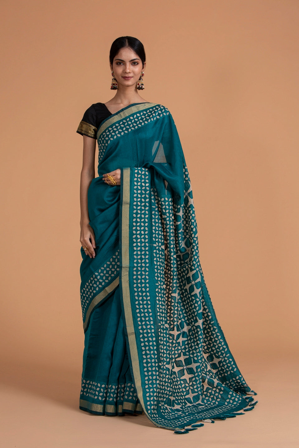 Chakor Motif Chanderi Applique Saree, Pine Green