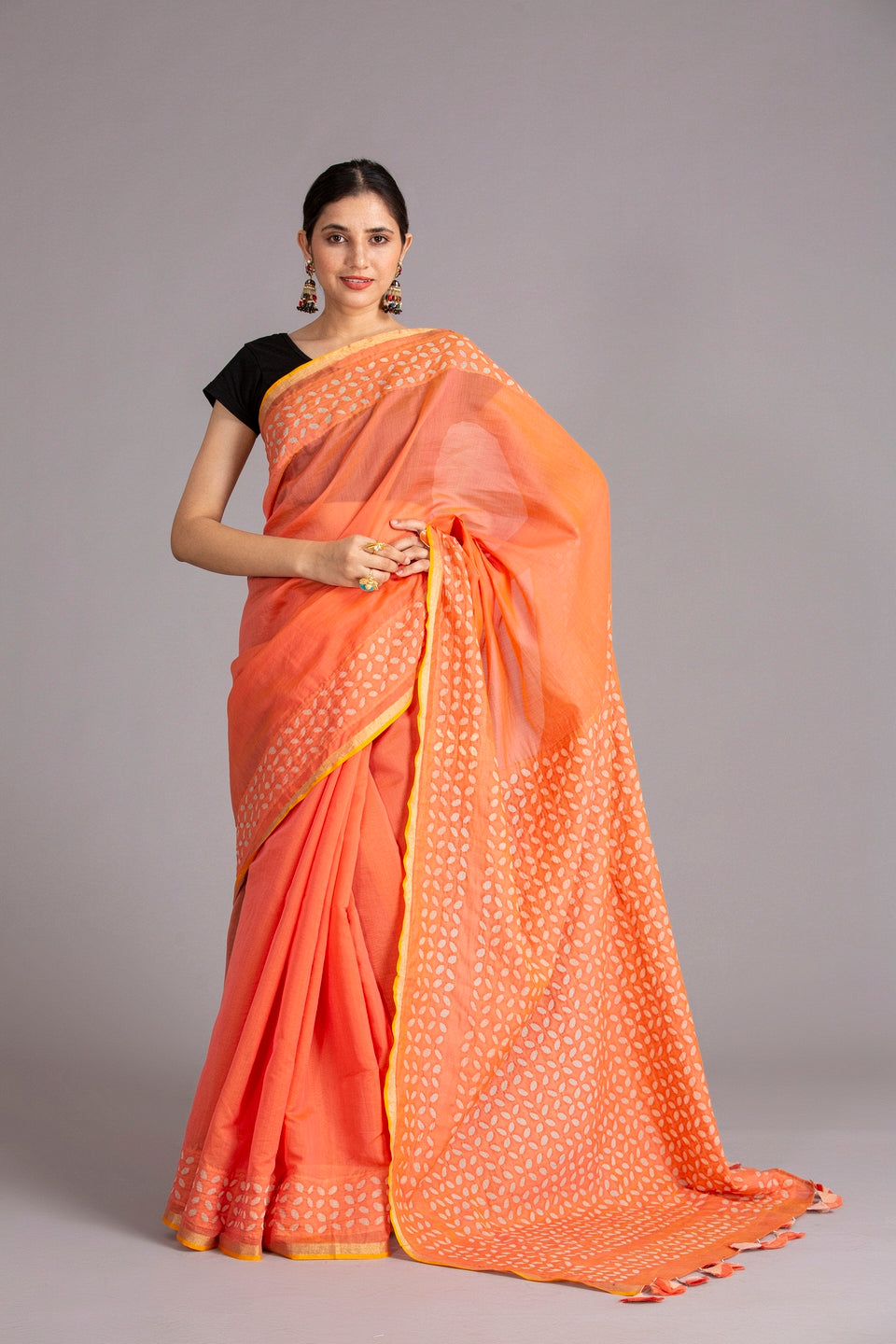 Khuddi Motif Chanderi Applique Saree, Peach