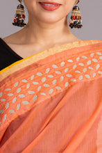 Load image into Gallery viewer, Khuddi Motif Chanderi Applique Saree, Peach