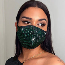 Load image into Gallery viewer, One Piece Rhinestone Encrusted Fashion Face Mask - The Mask Angel