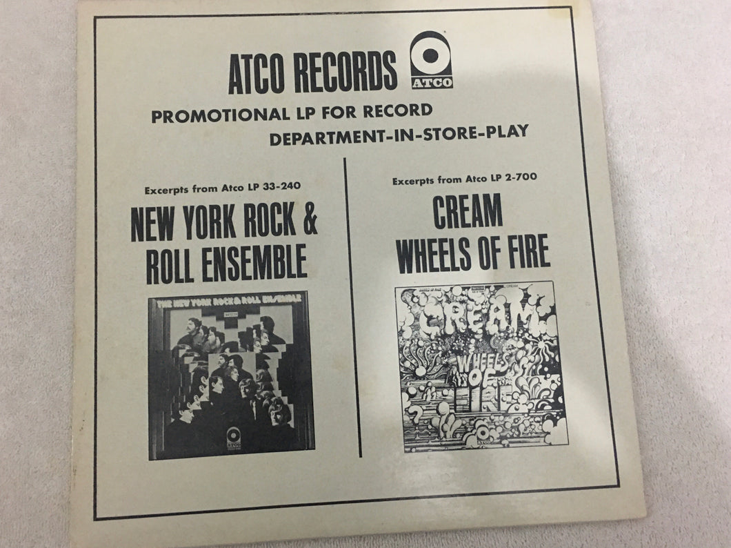 New York Rock & Roll Ensemble / Cream ‎– Promotional LP For Record Department-In-Store-Play, Vinyl LP, White Label Promo, ATCO Records ‎– LS-ST 119/120, 1968, USA