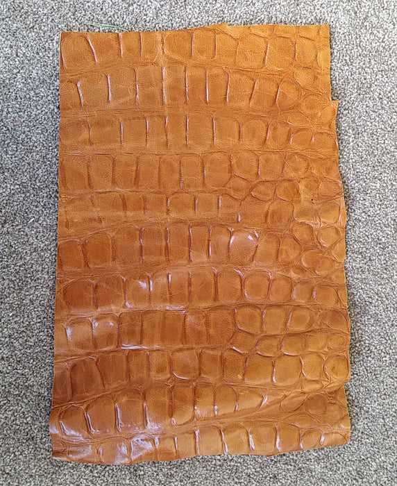 Tan Croc Print Scrap Leather Piece - 27cm x 43cm