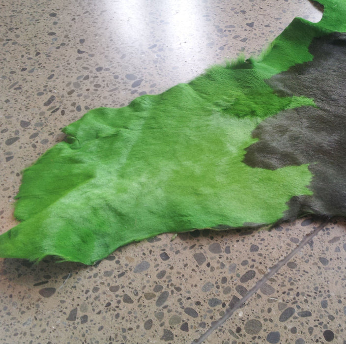 Cowhide Leather Piece - Green & Black