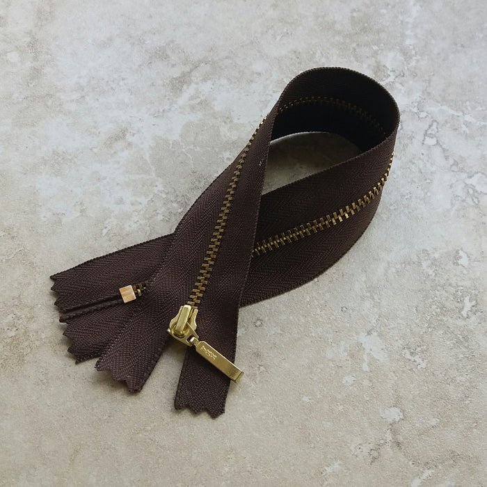 "YKK Metal Zip - 25cm (9 3/4"") - Brown"