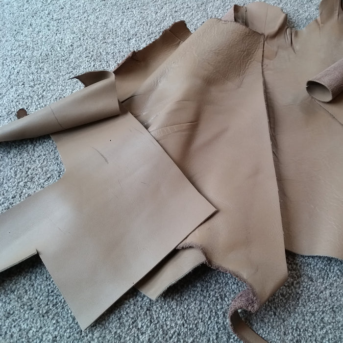 3 x Light brown/ Beige Leather Pieces