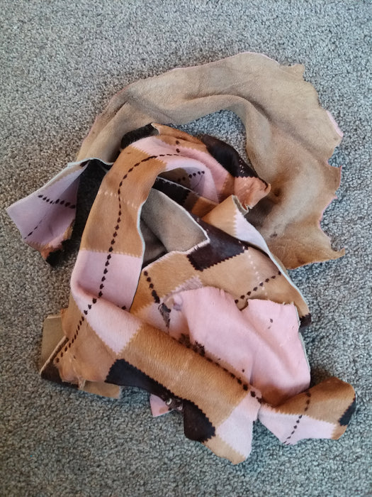 Cowhide Scrap Leather Pieces - Tartan