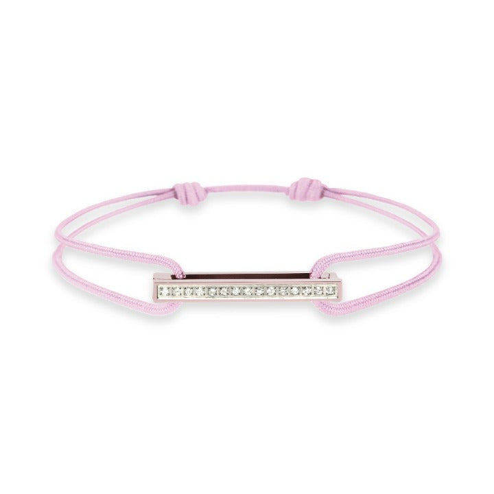 Cords bracelet with one Klic Diamond in Rose Gold