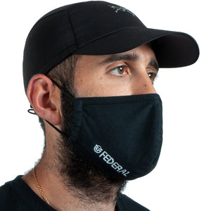 Federal Embroidered Mask - Black With White Embroidery