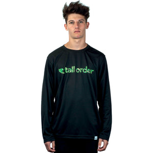Tall Order Font Breathe-Tech Long Sleeve T-Shirt - Black With Camo Print