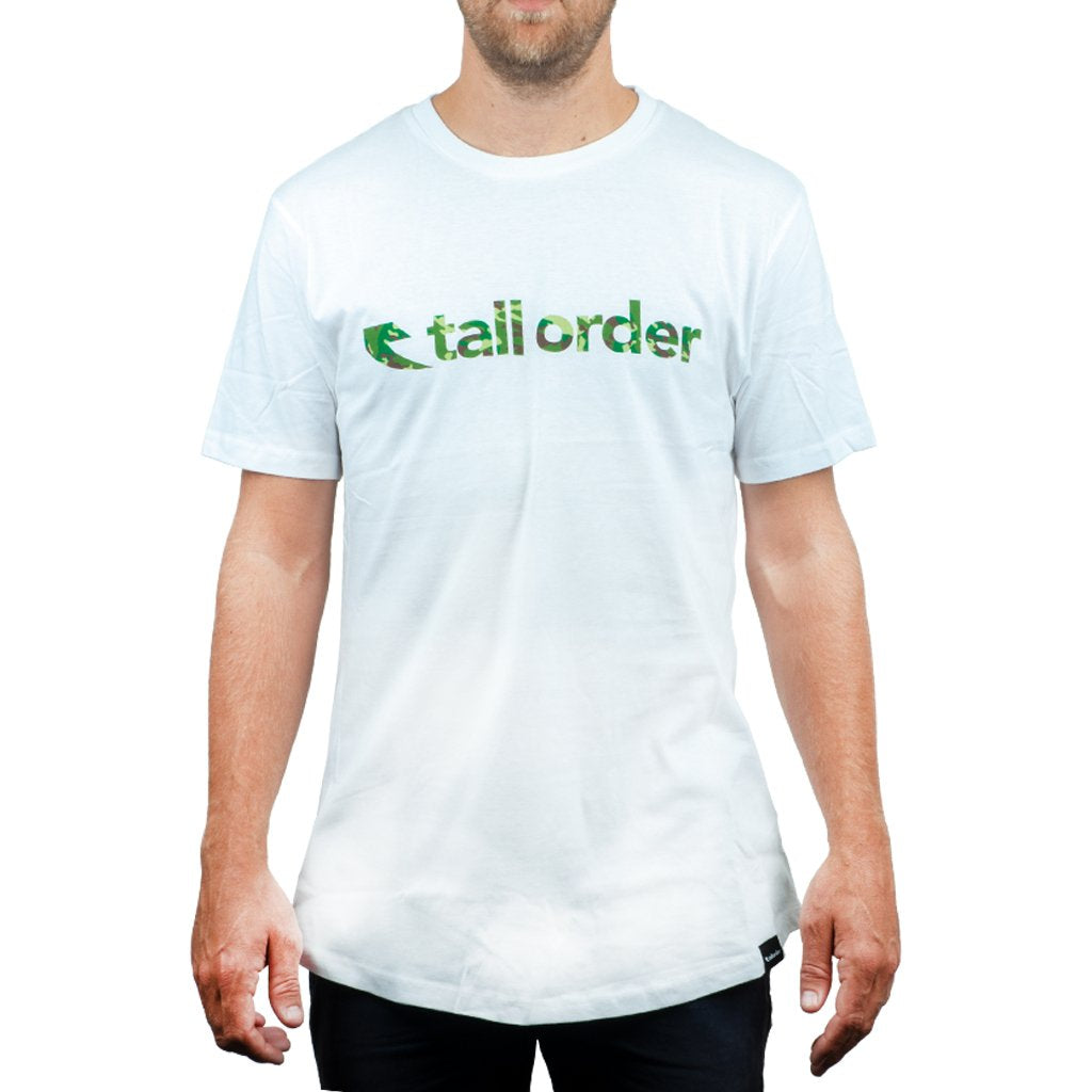 Tall Order Font T-Shirt - White With Camo Print