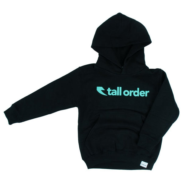 Tall Order Font Kids Hooded Sweatshirt - Black