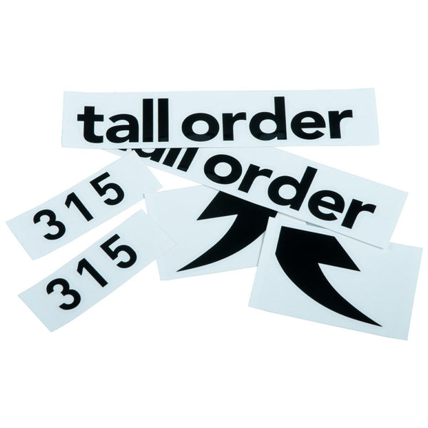 Tall Order 315 Frame Stickers - Black