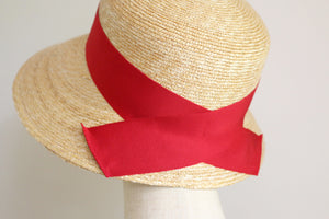 "Wide Brim Straw Hat ""Cecil"" Back Ribbon"