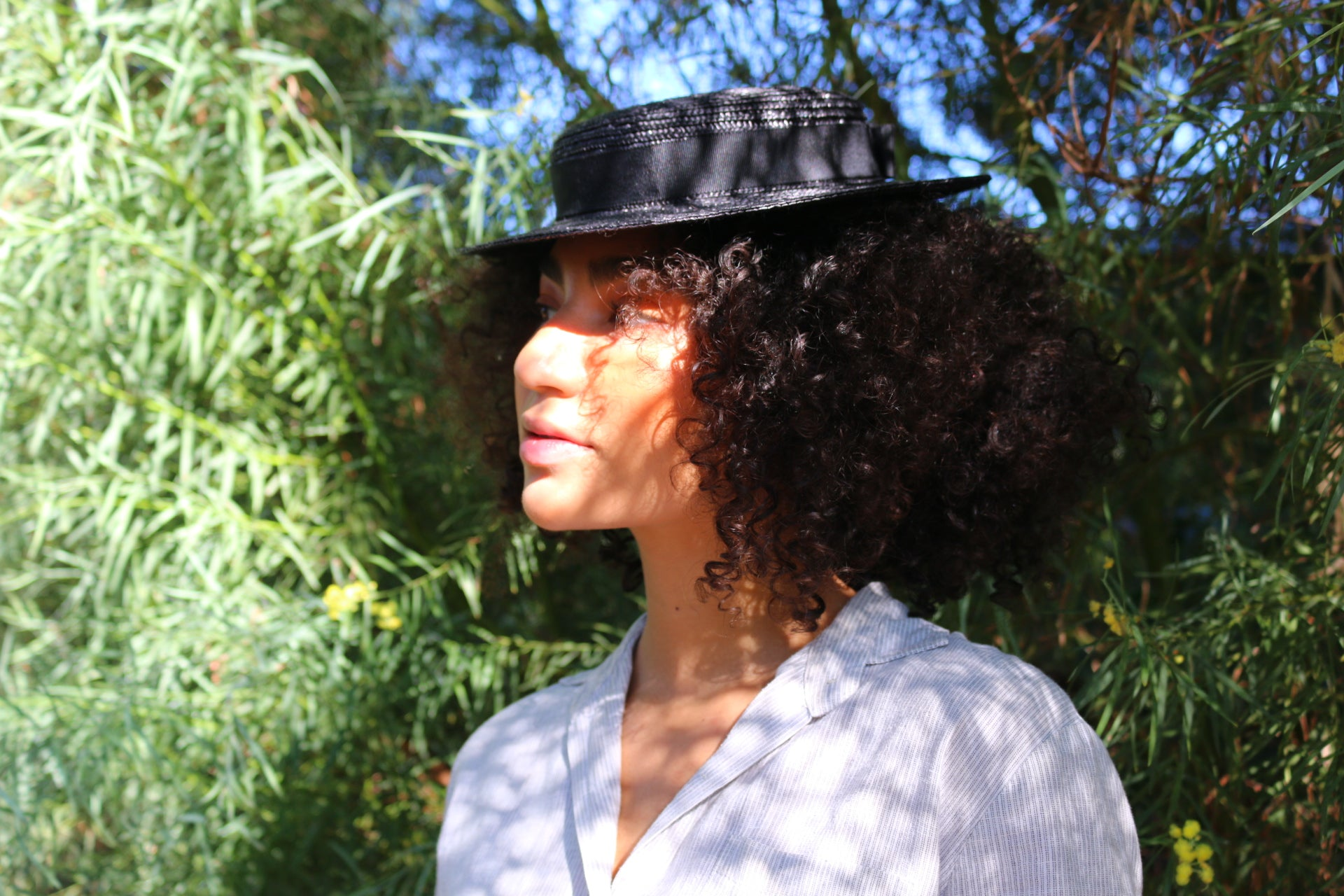 "Black Straw Boater Hat ""Vivien Black"""