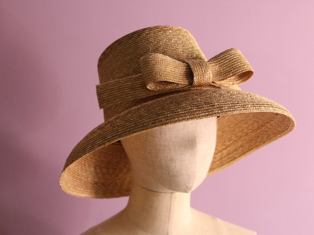 "Straw Hat  with big Ribbon ""Greta"""