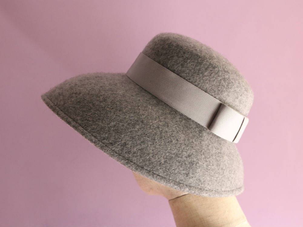 "Light Gray Wool Casablanca Hat ""Cecil"""