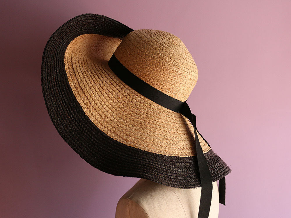 "Two Tone Raffia Vacation Hat ""Olivia"""