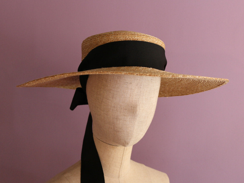 "Wide Brimmed Boater Hat with striped scarf ""Amal stripe"""
