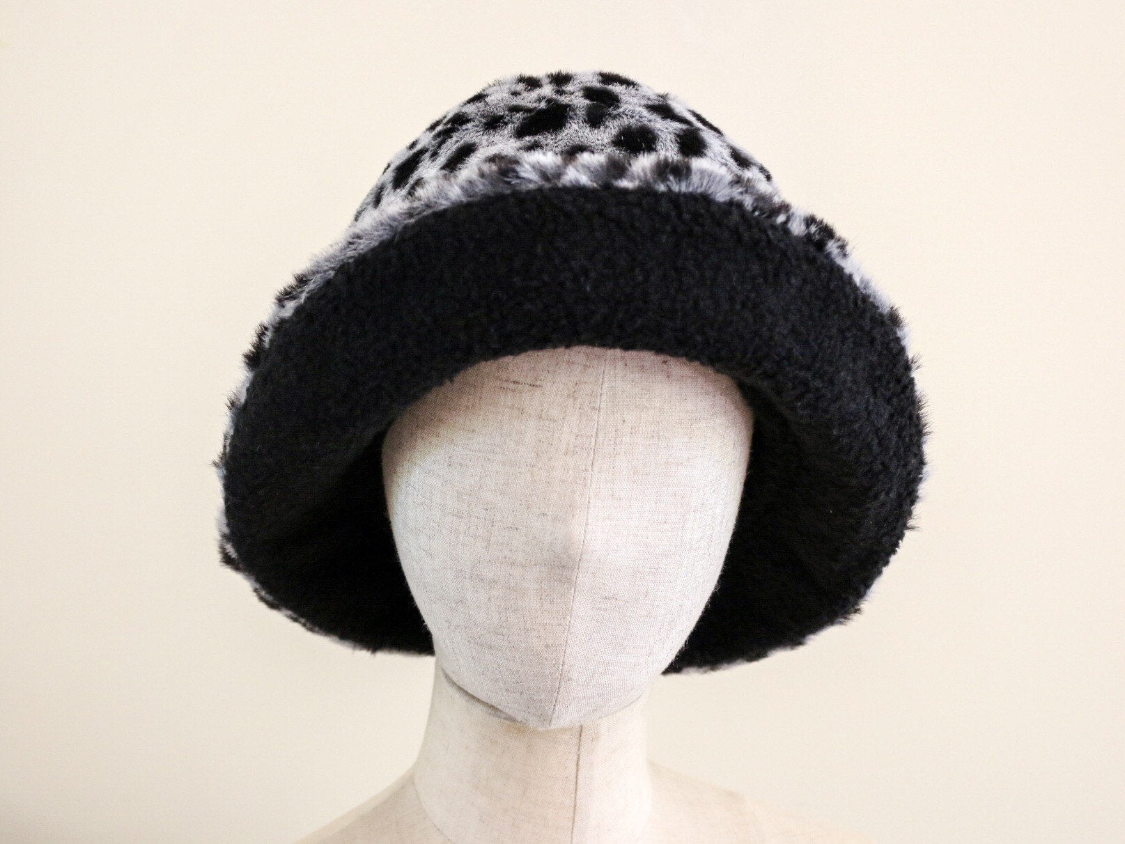Leopard Faux Fur Clochet Hat