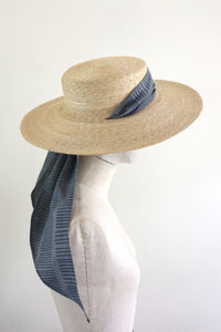 Wide Brimmed Boater with Hand-Printed Scarf