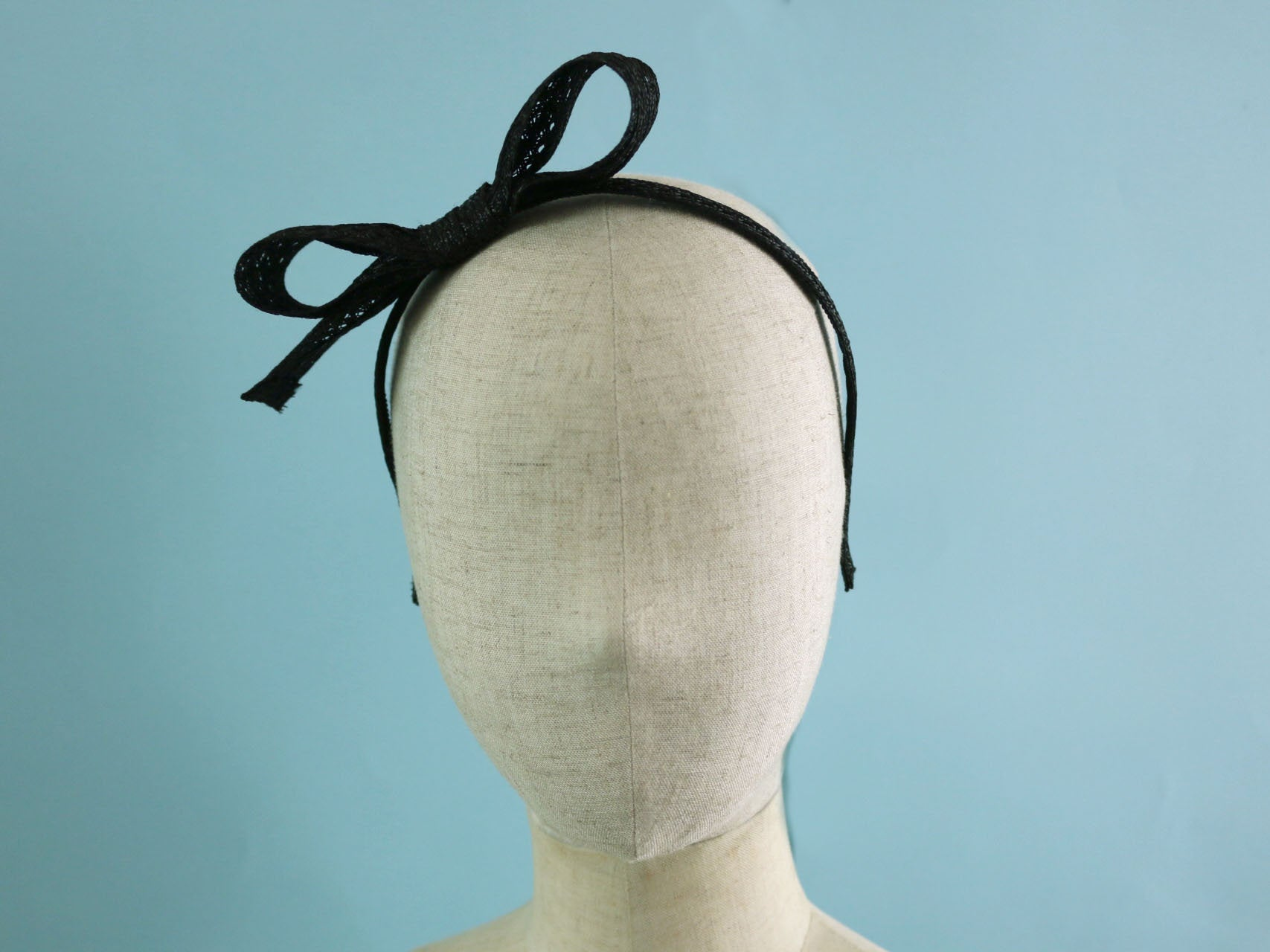 Black Swiss Braid Bow headband, Ribbon shaped hairband
