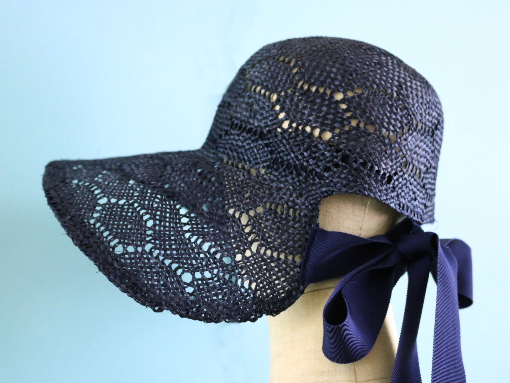 Navy Sisal Bonnet with Long Ribbons Summer Women Hat
