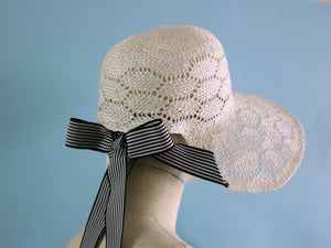 White Straw Bonnet with Long Ribbons Summer Women Hat Sisal Natural Material