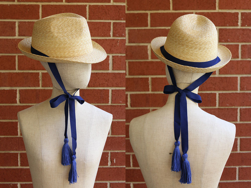 "Fedora Straw Hat with a long tassel ribbon ""Jean Tassels"""