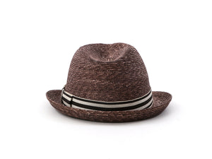 "Brown Straw Unisex Trilby Hat ""Marlowe"""