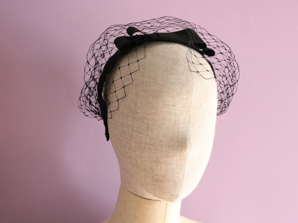 Grosgrain Bow & French net headband